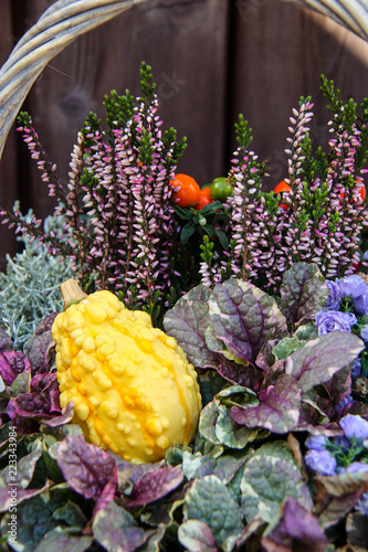 Tuinposter Bloemen Front view of colorful autumn bouquet with yellow orange pumpkin and fresh flowers and grass in basket thanksgiving background