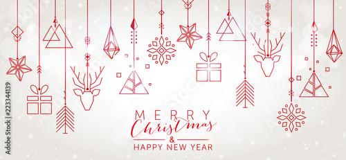 Fototapeta Christmas and New Year background with geometric elements obraz