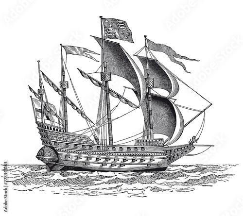 In de dag Schip Vintage British War Ship Engraving