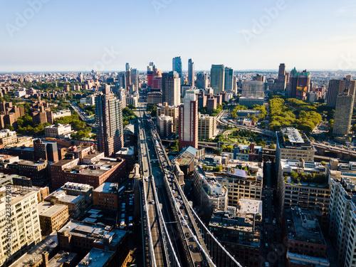 Foto op Plexiglas New York TAXI Aerial view of Brooklyn and Manhattan bridge in New York