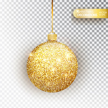 Golden Glitter Christmas Baubl...