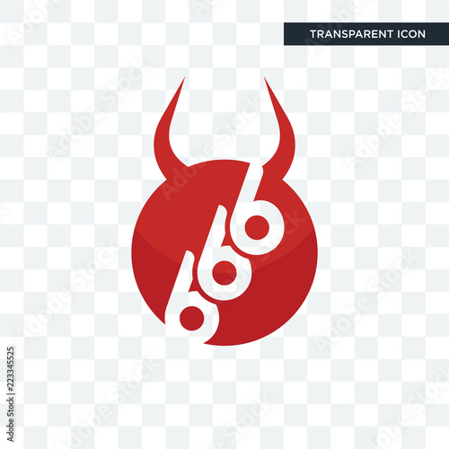 Photo  666 vector icon isolated on transparent background, 666 logo design