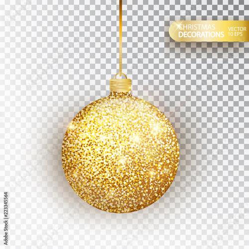 Obraz Golden glitter Christmas bauble golden glitter isolated on white. Sparkling glitter texture bal, holiday decoration. Stocking Christmas decorations.Gold hanging bauble. Vector illustration - fototapety do salonu