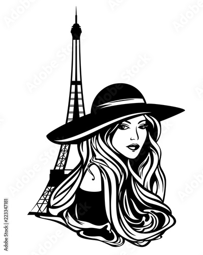 Obraz elegant parisian woman wearing wide brimmed hat and eiffel tower - black and white vector design - fototapety do salonu