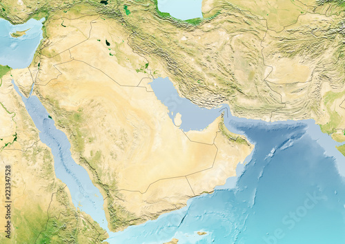 Photo  map of the strait of hormuz and coastal states