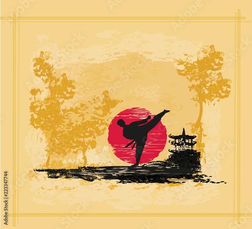 Deurstickers Vechtsport Creative abstract illustration of karate fighter