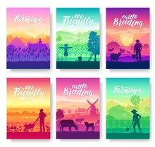 Farming Life Brochure Cards Set. Take Care Of The Garden Template Of Flyear, Magazines, Poster, Books, Invitation Banners. Cultivation Of Land Layout Modern Design Booklet