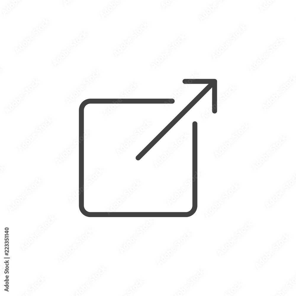 Fototapety, obrazy: Share outline icon. linear style sign for mobile concept and web design. External Link simple line vector icon. Symbol, logo illustration. Pixel perfect vector graphics