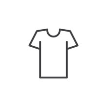 Tshirt Outline Icon. Linear Style Sign For Mobile Concept And Web Design. Shirt Simple Line Vector Icon. Symbol, Logo Illustration. Pixel Perfect Vector Graphics