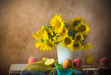 Still Life Bouquet Flower Vint...