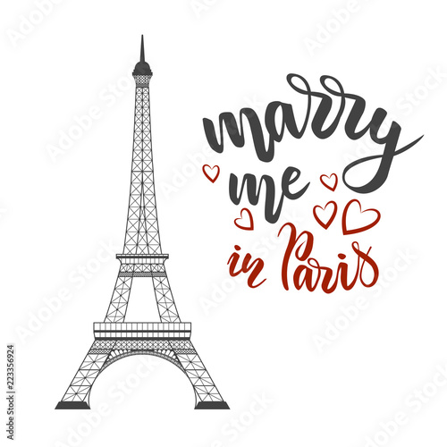 lettering marry me in Paris Canvas Print