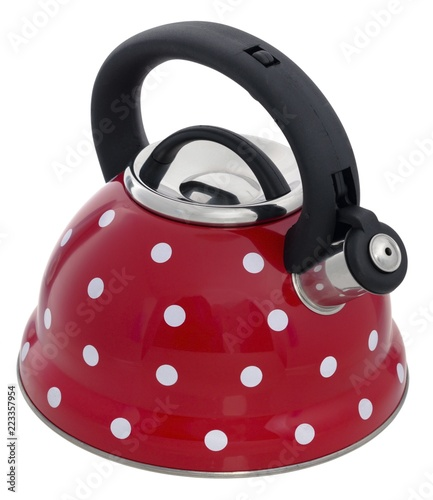 Red kettle with a pattern of white circles isolated on a white background