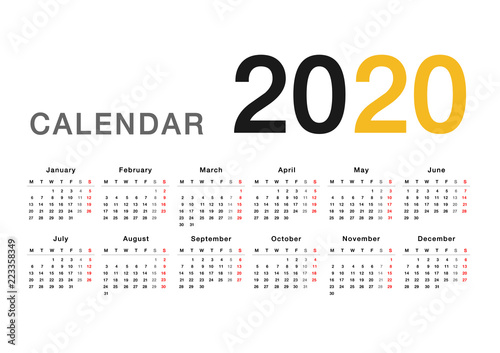 calendar year 2020 vector design template simple and clean design