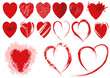Set of Red Grunge Heart Shapes on White Background - Brush Sketch Illustration with Abstract Artistic Painting, Vector