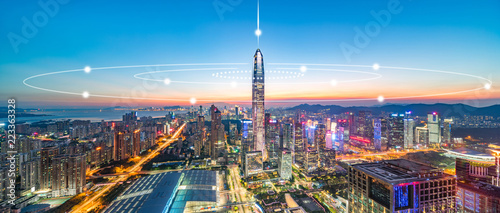 Shenzhen City Scenery and Big Data Concept