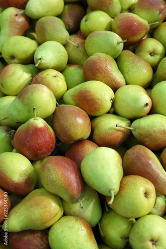 background of many red-green pears