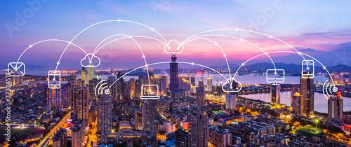 Xiamen City Scenery and Communication Network Obraz na płótnie