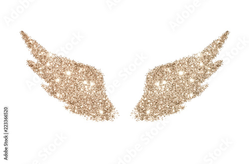 Fototapeta Abstract wings of rose gold glitter on white background - interesting and beauti
