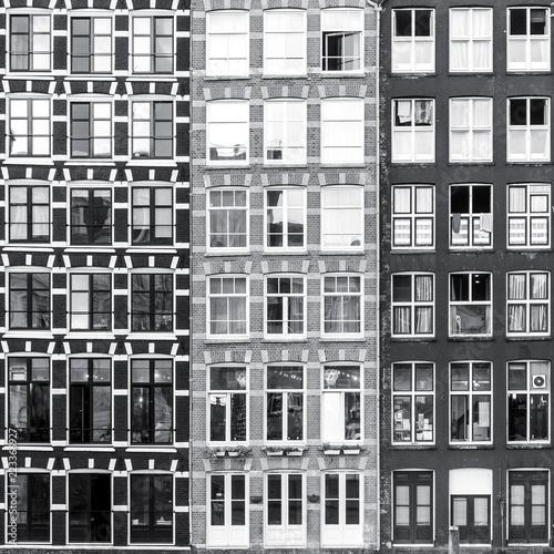 czarny-i-bialy-miastowy-amsterdam-okno-tlo