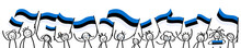 Cheering Crowd Of Happy Stick Figures With Estonian National Flags, Smiling Estonia Supporters, Sports Fans Isolated On White Background
