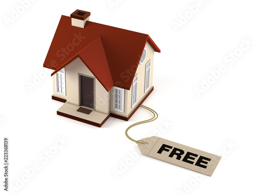 House With Price Tag Free On White Background Purchase Of