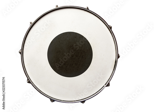 Snare drum with black region in the center top view isolated on white Fototapeta