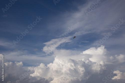 Fototapeta kite and Cumulus clouds and sun in the sky obraz na płótnie