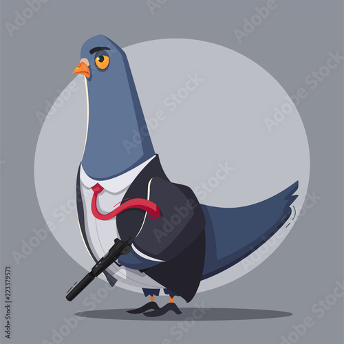 Fotografie, Tablou  Pigeon a  killer. Thug life. Cartoon vector illustration