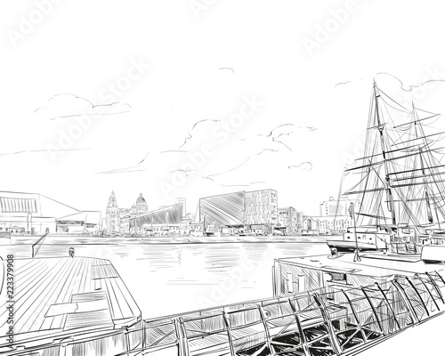 Liverpool.England. United Kingdom of Great Britain. Urban sketch. Hand drawn vector illustration