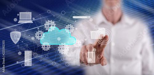 Man touching a cloud computing concept