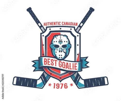 Fotomural Retro logo of the hockey goalkeeper - vintage goalie mask,  knight's shield and crossed sticks