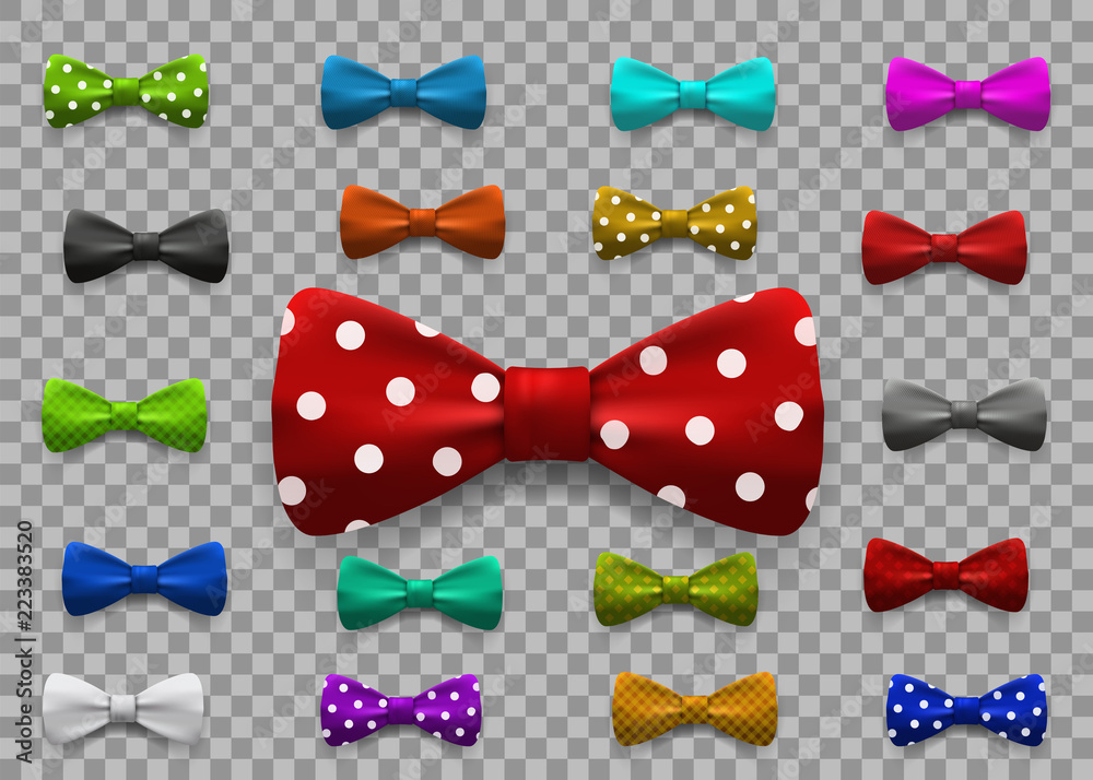 Fototapeta Set of multi colored bow tie isolated on transparent background. Clothing accessories.