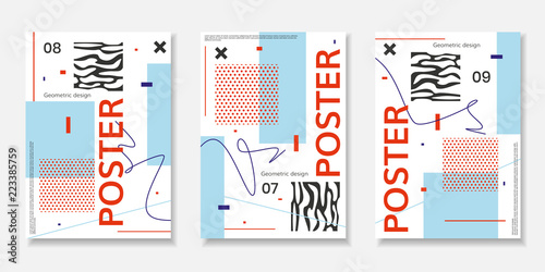 Obraz na plátně  Covers templates set with abstract shapes, bauhaus, memphis and other graphic geometric elements