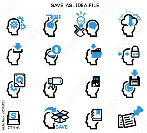 Saving ideas in your brain (icon concept) Canvas