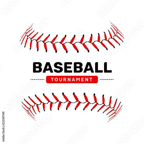 Baseball lace ball illustration isolated symbol. Vector baseball background sport design Wall mural