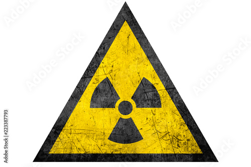 Cuadros en Lienzo black radioactive sign in yellow riangle
