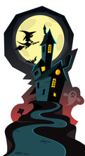 Happy Halloween Cozy Haunted House Isolated On A White Background