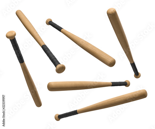 Photo 3d rendering of wooden baseball bats with black-wrapped handles hanging on a white background in different angles