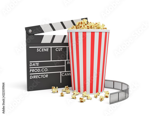 3d rendering of a full popcorn bucket standing near an empty clapperboard and a film strip on white background Fototapeta