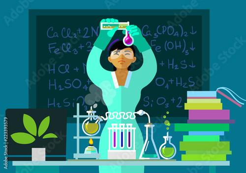 Fotografía  Teacher woman make chemistry experiment in classroom. Vector.