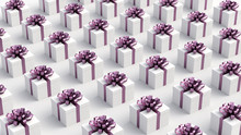 White Gift Boxes With Purple Ribbon, On White Background. Concept For Women And Holidays. 3D Rendering