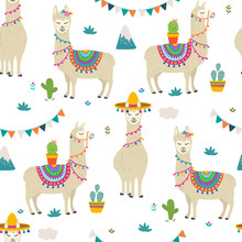 PrintCute Cartoon Llama Alpaca Seamless Pattern Vector Graphic Design. Hand Drawn Llama Character Illustration And Cactus Elements For Nursery Design, Birthday, Baby Shower Design And Party Decor, Pri