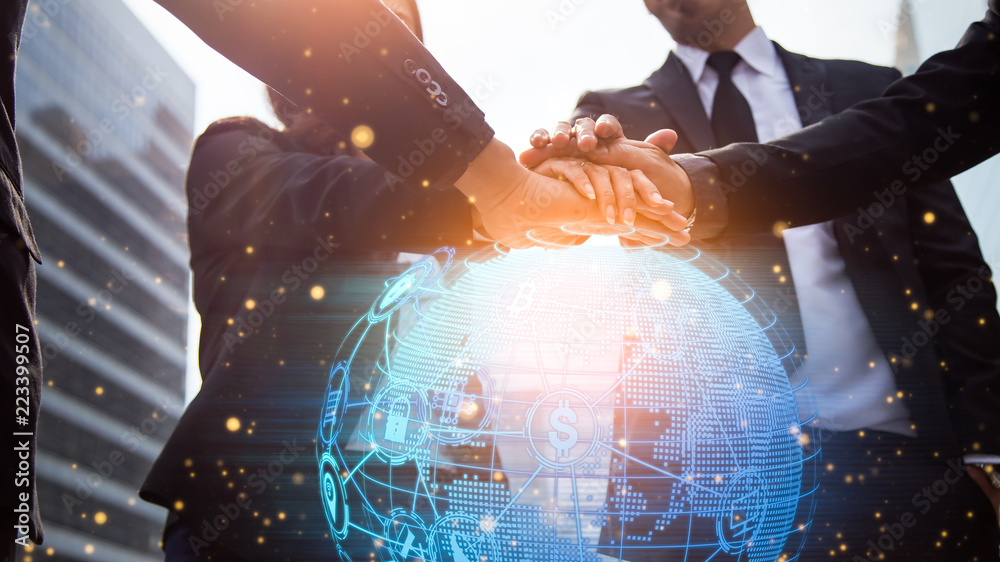 Fototapety, obrazy: Close up of businessmen shaking hands. Global network and a world map in the foreground. block chain concept.