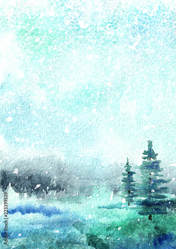 Fotobehang Lichtblauw Winter background, landscape with snow. Watercolor hand drawn vertical illustration