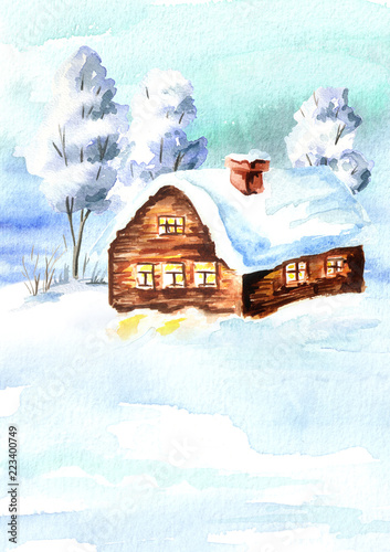 Fotobehang Lichtblauw Winter landscape, house and trees with snow illustration. Watercolor hand drawnvertical card