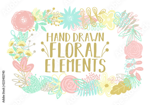 Vector illustration of a rectangular frame made from cartoon hand-drawn floral elements. An image for decoration of postcards, invitations and interiors. © Anton