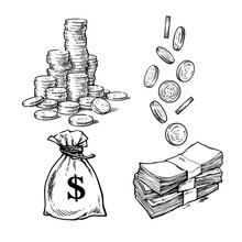 Finance, Money Set. Sketch Of ...