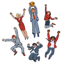 Vector Set Of Business People Men And Women Jumping For Joy Holding Up Winning Cup. Partnership Teamwork Concept. Team Celebrate Their Success.