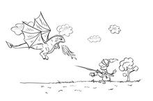 Child's Drawing  With A Dragon And A Knight. Vector Sketches With Characters Of Fairy-tales. Sketch On Notebook Page