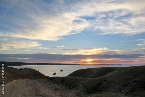 Poster Cote sunset on coast of sea